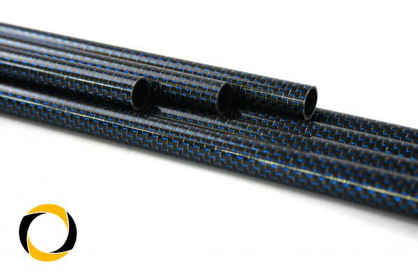 Carbon Designrohr Eco Blau 12x1x1000mm mit eloxierten Zierfäden glänzend